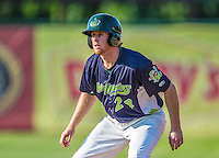 29 June 2014:  Vermont Lake Monsters outfielder Scott Masik in action against the Lowell Spinners at Centennial Field in Burlington, Vermont. The Lake Monsters fell to the Spinners 7-5 in NY Penn League action. Mandatory Credit: Ed Wolfstein Photo *** RAW Image File Available ****