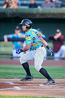 Idaho Falls Chukars Jose Marquez (13) at bat during a Pioneer League game against the Missoula Osprey at Melaleuca Field on August 20, 2019 in Idaho Falls, Idaho. Idaho Falls defeated Missoula 6-3. (Zachary Lucy/Four Seam Images)