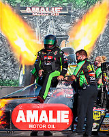 Sep 26, 2020; Gainesville, Florida, USA; NHRA top fuel driver Terry McMillen climbs into his dragster during qualifying for the Gatornationals at Gainesville Raceway. Mandatory Credit: Mark J. Rebilas-USA TODAY Sports