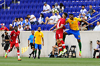 Harrison, NJ - Friday July 07, 2017: Lucas Cavallini, Gregory Lescot during a 2017 CONCACAF Gold Cup Group A match between the men's national teams of French Guiana (GUF) and Canada (CAN) at Red Bull Arena.