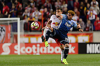 Harrison, NJ - Wednesday Feb. 22, 2017: Aaron Long, Erik Hurtado during a Scotiabank CONCACAF Champions League quarterfinal match between the New York Red Bulls and the Vancouver Whitecaps FC at Red Bull Arena.