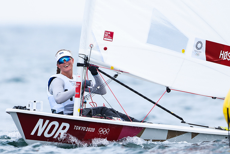 On seven points with scores of 3,1, 3 Flem Hoest Line of Norway is the overall leader of the 44-boat Tokyo Radial fleet