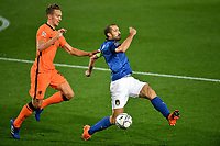 Luuk de Jong of Netherlands and Giorgio Chiellini of Italy compete for the ball during the Uefa Nation A League Group 1 football match between Italy and Netherlands at Atleti azzurri d Italia Stadium in Bergamo (Italy), October, 14, 2020. Photo Andrea Staccioli / Insidefoto