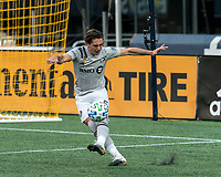 FOXBOROUGH, MA - SEPTEMBER 23: Luis Binks #5 of Montreal Impact clears the ball during a game between Montreal Impact and New England Revolution at Gillette Stadium on September 23, 2020 in Foxborough, Massachusetts.