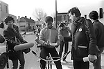 """Peter Tatchell electioneering south London 1983. UK. """"Justice for Pensioners"""" badge.Bermondsey by-election"""