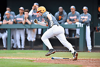Tennessee Volunteers first baseman Pete Derkay (10) runs to first base during a game against the University of North Carolina Greensboro (UNCG) Spartans at Lindsey Nelson Stadium on February 24, 2018 in Knoxville, Tennessee. The Volunteers defeated Spartans 11-4. (Tony Farlow/Four Seam Images)