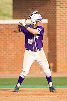 Josh Spano (21) of the High Point Panthers at bat against the Coastal Carolina Chanticleers at Willard Stadium on March 15, 2014 in High Point, North Carolina.  The Chanticleers defeated the Panthers 1-0 in the first game of a double-header.  (Brian Westerholt/Four Seam Images)