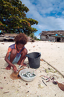 Young girl cleaning and cutting fishes for food,. Young girl cleaning and cutting fishes for food, Raja Ampat, Papua, Indonesia, Pacific Ocean