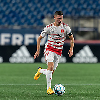 FOXBOROUGH, MA - AUGUST 21: Matt Bolduc #7 of Richmond Kickers brings the ball forward during a game between Richmond Kickers and New England Revolution II at Gillette Stadium on August 21, 2020 in Foxborough, Massachusetts.