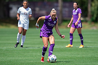 SANFORD, FL - APRIL 3: Courtney Petersen of the Orlando Pride passes the ball during a game between Florida State Seminoles and Orlando Pride at Sylvan Park Training Center on April 3, 2021 in Sanford, Florida.