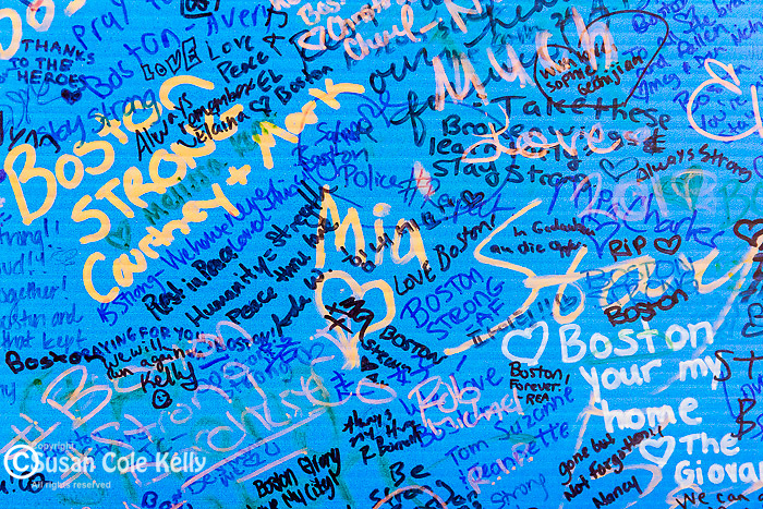 The Boston Marathon bombing memorial in Copley Square, Boston, Massachusetts, USA