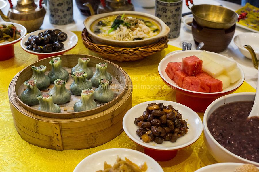 Yangzhou, Jiangsu, China.  Breakfast at Ye Chun Tea House.  Green Jade Buns on left.