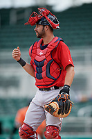 Boston Red Sox catcher Lane Milligan (12) during a Florida Instructional League game against the Baltimore Orioles on September 21, 2018 at JetBlue Park in Fort Myers, Florida.  (Mike Janes/Four Seam Images)