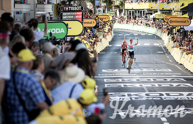 Daryl Impey (ZAF/Mitchelton-Scott) beats Tiesj Benoot (BEL/Lotto-Soudal) on the finish line & wins stage 9<br /> <br /> Stage 9: Saint-Étienne to Brioude(170km)<br /> 106th Tour de France 2019 (2.UWT)<br /> <br /> ©kramon
