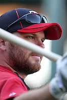 Minnesota Twins outfielder Jason Kubel #16 before a game against the Los Angeles Angels at Angel Stadium on September 2, 2011 in Anaheim,California. Minnesota defeated Los Angeles 13-5.(Larry Goren/Four Seam Images)