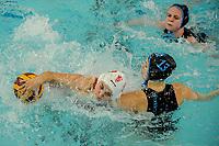 20200126 - GENT, BELGIUM : Gentse's (9) Laura Vandaele , Eeklo's (10) Frouke Ingels and Eeklo's (13) Anke Van De Velde pictured during the waterpolo game Gentse KGZV and Eeklo MVZ , waterpolo game between Gentse KGZV and Eelko MVZ , at swimming pool Strop in Gent , saturday 1 th February 2020 . PHOTO SPORTPIX.BE | STIJN AUDOOREN
