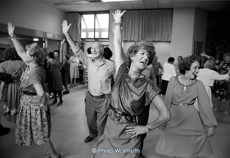 Tea dance at the Hampden Comunity Centre, Somerstown, Kings Cross, London, 1990.