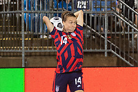 EAST HARTFORD, CT - JULY 1: Emily Sonnett #14 of the United States on a throw in during a game between Mexico and USWNT at Rentschler Field on July 1, 2021 in East Hartford, Connecticut.