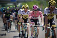 Maglia Rosa Steven Kruijswijk (NLD/LottoNL-Jumbo) is well escorted at the front of the peloton by his teammates <br /> <br /> stage 18: Muggio - Pinerolo (240km)<br /> 99th Giro d'Italia 2016