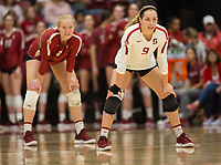 STANFORD, CA - NOVEMBER 17: Stanford, CA - November 17, 2019: Morgan Hentz, Kathryn Plummer at Maples Pavilion. #4 Stanford Cardinal defeated UCLA in straight sets in a match honoring neurodiversity. during a game between UCLA and Stanford Volleyball W at Maples Pavilion on November 17, 2019 in Stanford, California.