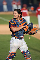 Niko Pacheco #27 of the Cal State Fullerton Titans during a game against the Stanford Cardinal at Goodwin Field on February 19, 2017 in Fullerton, California. Stanford defeated Cal State Fullerton, 8-7. (Larry Goren/Four Seam Images)