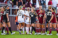 Members of Texas A&M and South Carolina soccer team shake hands at the conclusion of NCAA soccer game, Sunday, October 26, 2014 in College Station, Tex. South Carolina draw 2-2 against Texas A&M in double overtime. (Mo Khursheed/TFV Media via AP Images)