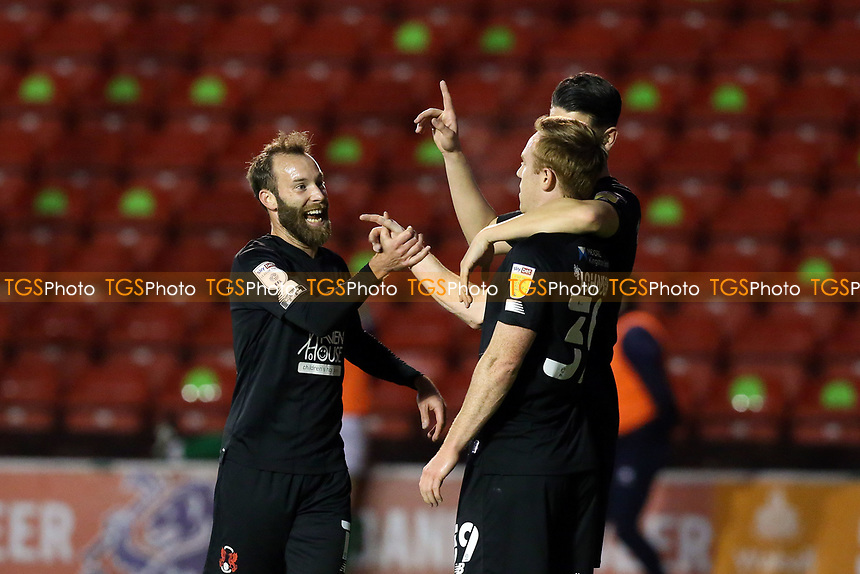 O's Danny Johnson scores the opener and celebrates with James Dayton during Walsall vs Leyton Orient, Sky Bet EFL League 2 Football at the Banks's Stadium on 13th October 2020