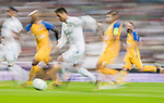 Cristiano Ronaldo (c) of Real Madrid fights for the ball with APOEL FC players during the UEFA Champions League 2017-18 match between Real Madrid and APOEL FC at Estadio Santiago Bernabeu on 13 September 2017 in Madrid, Spain. Photo by Diego Gonzalez / Power Sport Images