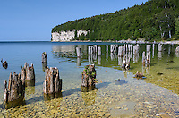 The towering limestone cliffs along Lake Michigan's Snail Shell Harbor at ghost town Fayette Historic State Park.
