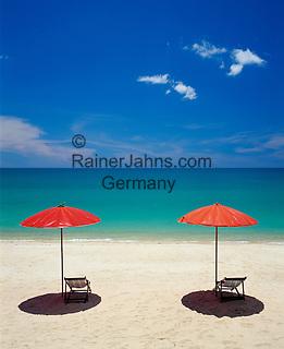 Thailand, island Ko Samui, Lamai Beach, two parasols and empty deck chairs