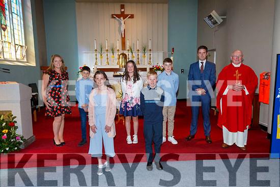Pupils from Scoil an Ghleanna, The Glen, Ballinskelligs who made their Confirmation on Saturday in The Sacred Heart Church, pictured front l-r; Hannah Ní Mhurchú, Jack Ó Céilleachair, back l-r; Sorcha Ní Chatháin(Principal), Conor Ó Siochrú, Meabh Ní Shúilleabháin, Dáithí Ó Sé, Cilian Ó Loingsigh agus Fr Patsy Lynch.