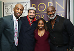 """Donald Webber Jr., Lin-Manuel Miranda, Stephanie Mills and BeBe Winans backstage after a Song preview performance of the Bebe Winans Broadway Bound Musical """"Born For This"""" at Feinstein's 54 Below on November 5, 2018 in New York City."""