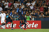 Football: Uefa under 21 Championship 2019, England - France, Dino Manuzzi stadium Cesena Italy on June18, 2019.<br /> France's Jonathan Ikoné (r) celebrates after scoring with his teammates Jeff Reine -Adélaide (c) and Colin Dagba  (l) during the Uefa under 21 Championship 2019 football match between England and France at Dino Manuzzi stadium in Cesena, Italy on June18, 2019.<br /> UPDATE IMAGES PRESS/Isabella Bonotto