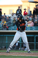 Dillon Dobson (15) of the San Jose Giants bats against the Lancaster JetHawks at The Hanger on May 5, 2017 in Lancaster, California. San Jose defeated Lancaster, 4-2. (Larry Goren/Four Seam Images)