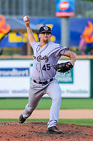 Kane County Cougars pitcher Jake Winston (45) delivers a pitch during game one of a Midwest League doubleheader against the Wisconsin Timber Rattlers on June 23, 2017 at Fox Cities Stadium in Appleton, Wisconsin.  Kane County defeated Wisconsin 4-3. (Brad Krause/Four Seam Images)