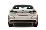 Straight rear view of a 2018 Ford Fusion SE 4 Door Sedan stock images