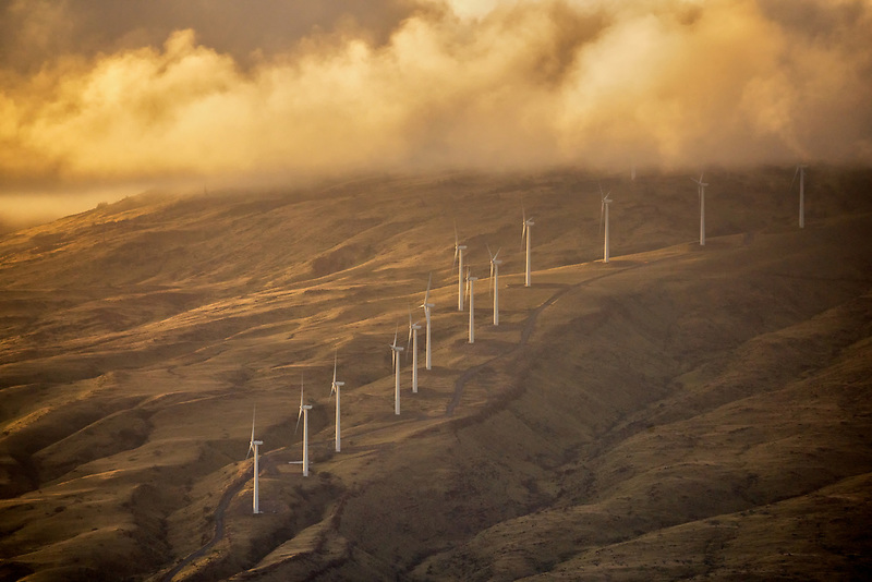 Wind turbines and sunrise. Maui, Hawaii