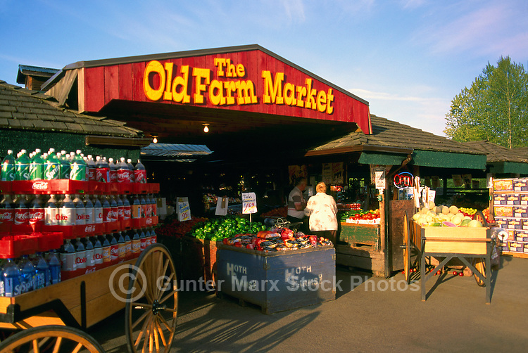 Fresh Fruits, Vegetables, and other Produce for Sale at a Farmer's Market in Duncan, Vancouver Island, British Columbia, Canada