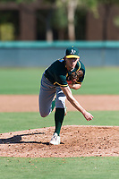 Oakland Athletics relief pitcher Chase Cohen (51) follows through on his delivery during an Instructional League game against the Los Angeles Dodgers at Camelback Ranch on September 27, 2018 in Glendale, Arizona. (Zachary Lucy/Four Seam Images)