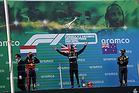 11th October 2020, Nuerburgring, Nuerburg, Germany; FIA Formula 1 Eifel Grand Prix, Race Day;  44 Lewis Hamilton GBR, Mercedes-AMG Petronas Formula One Team celebrates his race win and equaling Michael Schumachers win record with 2 place for Max Verstappen NEL 33 , Aston Martin Red Bull Racing, 3 place for Daniel Ricciardo AUS 3 , Renault DP World F1 Team