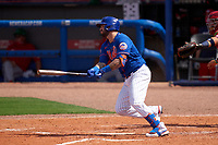 New York Mets Tomás Nido (3) bats during a Major League Spring Training game against the Washington Nationals on March 18, 2021 at Clover Park in St. Lucie, Florida.  (Mike Janes/Four Seam Images)