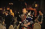 Hogmany Bagpipes Scottish Piper New Years Eve party at the Ritz Hotel London England 1986 1980s