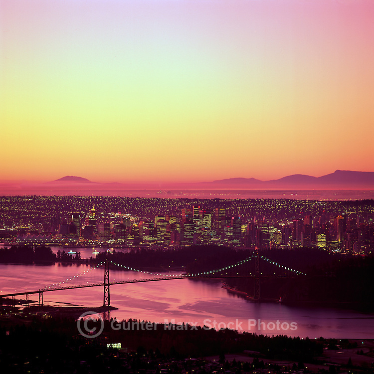 Vancouver, BC, British Columbia, Canada - Lions Gate Bridge, City and Downtown Skyline, Burrard Inlet, Summer Sunrise