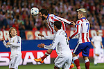 Atletico de Madrid's Arda Turan and Griezmann and Real Madrid´s Luka Modric and Raphael Varane during quarterfinal first leg Champions League soccer match at Vicente Calderon stadium in Madrid, Spain. April 14, 2015. (ALTERPHOTOS/Victor Blanco)