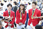 (L-R)<br /> Kohei Uchimura, <br /> Kaori Icho,<br /> Kosuke Hagino (JPN), <br /> OCTOBER 7, 2016 :<br /> Japanese medalists of Rio 2016 Olympic and Paralympic Games wave to spectators during a parade from Ginza to Nihonbashi, Tokyo, Japan.<br /> (Photo by Shingo Ito/AFLO)