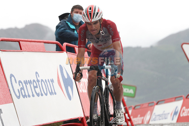 Guillaume Martin (FRA) Cofidis crosses the line losing time at the end of Stage 17 of La Vuelta d'Espana 2021, running 185.8km from Unquera to Lagos de Covadonga, Spain. 1st September 2021.    <br /> Picture: Luis Angel Gomez/Photogomezsport | Cyclefile<br /> <br /> All photos usage must carry mandatory copyright credit (© Cyclefile | Luis Angel Gomez/Photogomezsport)