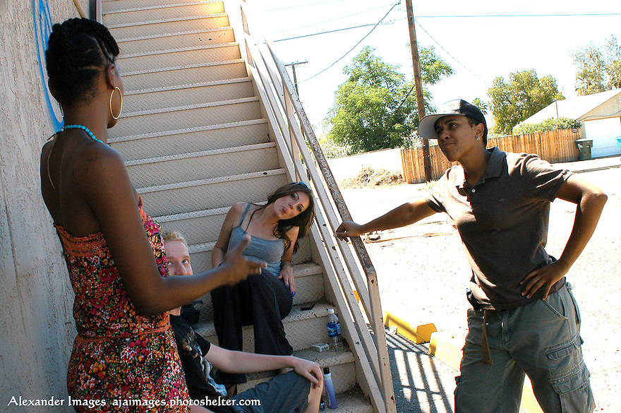 AJ Alexander - Wardrobe Alexis Hamilton, Actor Mat Vansen and Actor Jamie Jurju giving me the tongue and Director Erika Liciaga chatting up in a 100 degree weather before lunch on the set of Mind Over Matter on Friday May 13, 2011..Photo by AJ Alexander