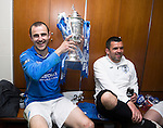 St Johnstone v Dundee United....17.05.14   William Hill Scottish Cup Final<br /> Captain Dave Mackay celebrates in the dressing room along side Callum davidson<br /> Picture by Graeme Hart.<br /> Copyright Perthshire Picture Agency<br /> Tel: 01738 623350  Mobile: 07990 594431