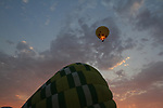 Hot Air Balloons sail over Napa Valley vineyards.