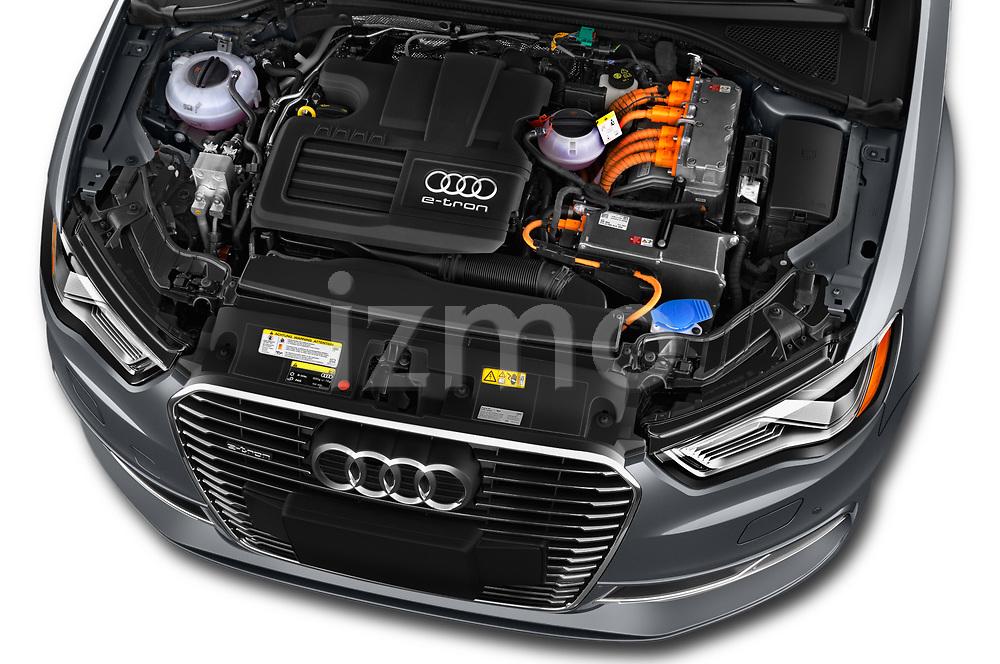 Car stock 2016 Audi A3  Sportback e tron 1.4T S tronic Premium Plus  5 Door Hatchback engine high angle detail view